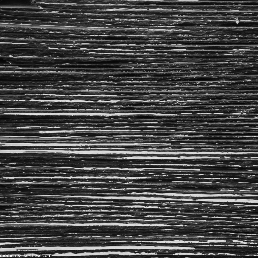 Pile of slates in B&W