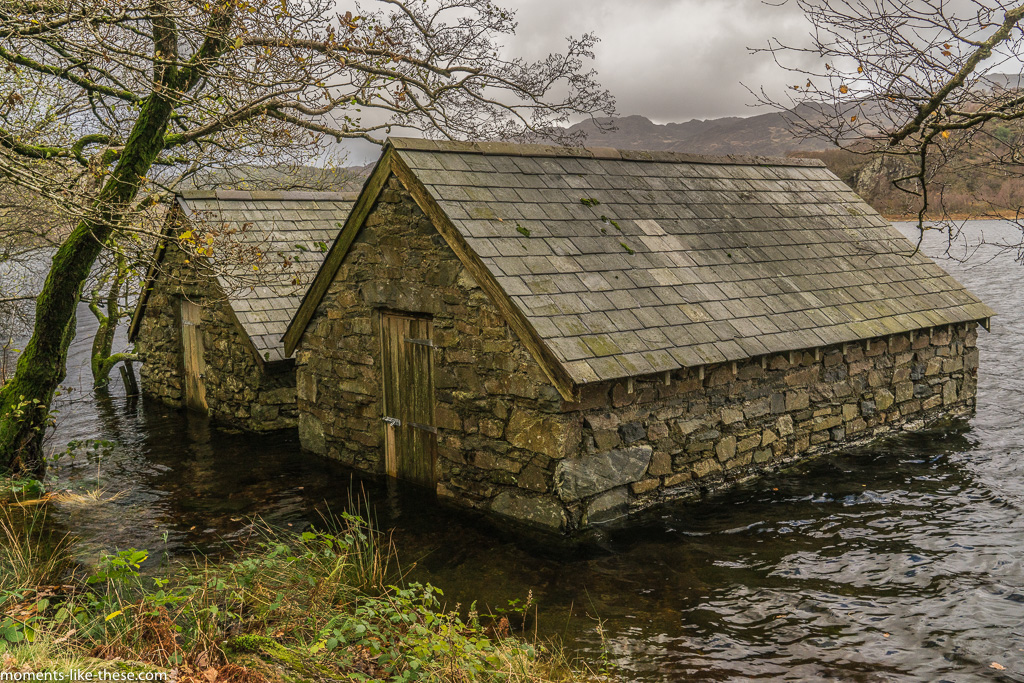 Boathouses beside Llyn Dinas