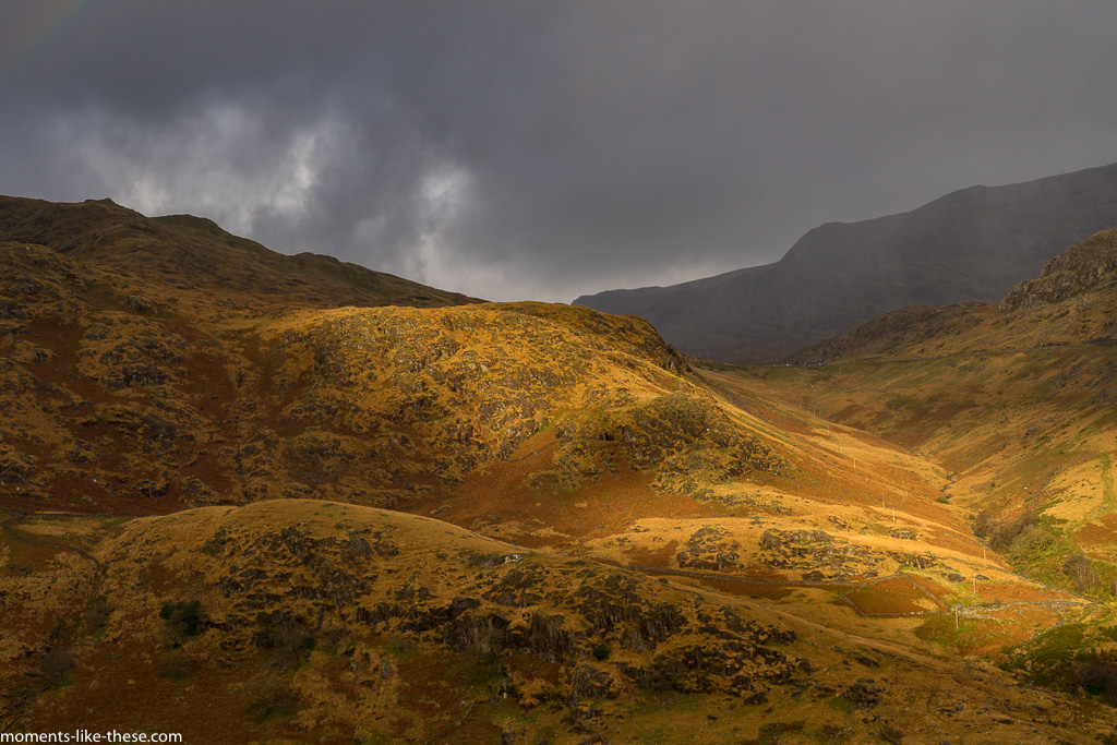 Sunlight and autumn colours under Snowdon